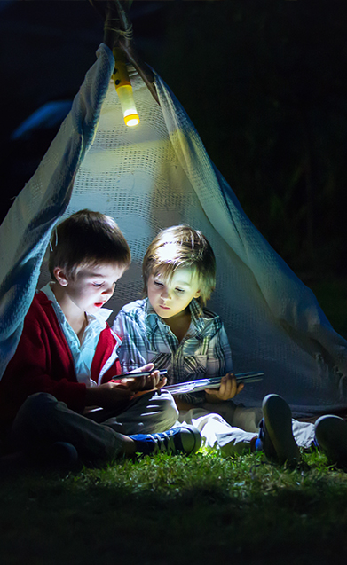 Children camping at the game fair